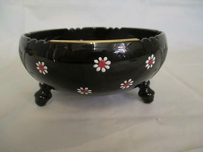 C9 Vintage Black Glass 3 Footed Candy Dish Bowl - Handpainted Flowers
