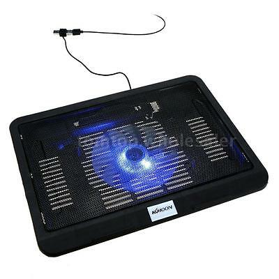 """10-17"""" Notebook Laptop Fan Cooler Cooling Stand Pad Blue LED Extra USB Port Q8W8"""