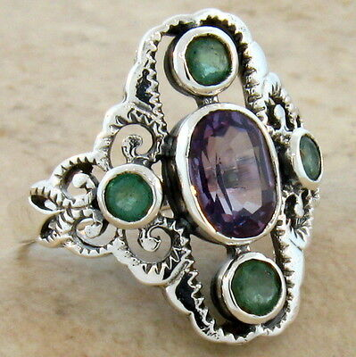 Lab Alexandrite Genuine Emerald Antique Style .925 Ster Silver Ring Size 8, #405