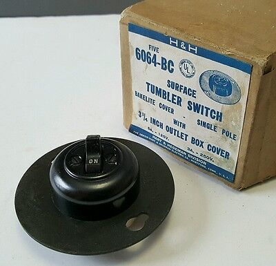 VTG NOS AH&H Arrow Hart Hegeman Bakelite Cover Surface Tumbler Light Switch