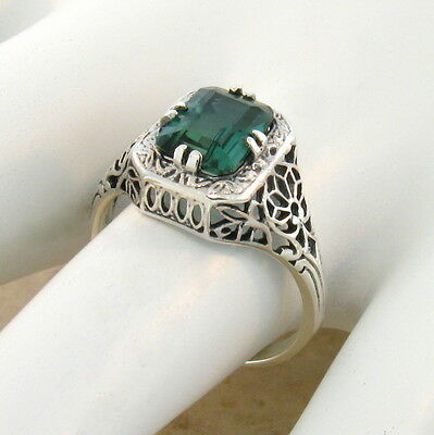 Green Lab Amethyst 925 Sterling Victorian Antique Style Silver Ring Sz 4.75,#785