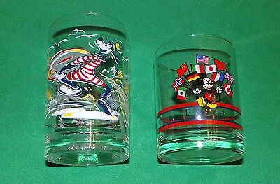 Pair of Walt Disney World 25th Anniversary Goofy and Mickey Mouse Epcot Glasses