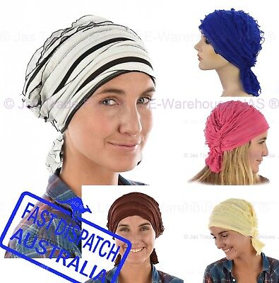 Ladies Chemo Hair Loss Headcover Fitted Scarf Wrap Volume Builder Ruffle RUFFLED
