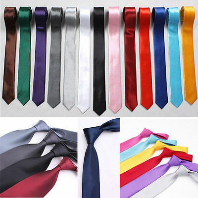 New Fashion Slim Skinny Solid Color Plain Satin Tie Narrow Necktie Moto Ties