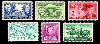 1949 Year Set of 6 Commemorative Stamps Mint NH - Stuart Katz