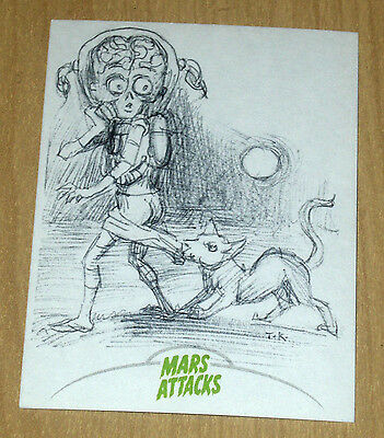 2013 Topps MARS ATTACKS INVASION CREATOR sketch card 1/1 Tom Kidd super rare