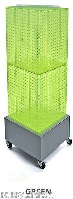 "Floor Pegboard Revolving Display - 4 Sided 14"" x 14"" x 40"" H 16"" Base (Green)"