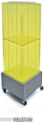 """AYS Retail 4 Sided Revolving Pegboard Display 14"""" x 14"""" x 40"""" H 16"""" Base(Yellow)"""