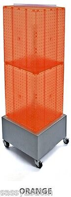 "Floor Pegboard Revolving Display - 4 Sided 14"" x 14"" x 40""H 16"" Base (Orange)"