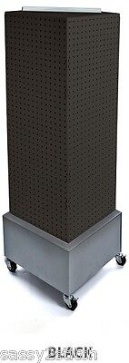 "Floor Pegboard Revolving Display - 4 Sided 14"" x 14"" x 40"" H 16"" Base (Black)"