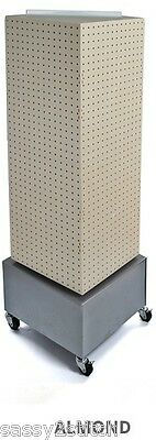 "Floor Pegboard Revolving Display - 4 Sided 14"" x 14"" x 40"" H16"" Base (Almond)"