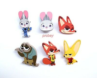 20pcs Zootopia cartoon Wooden Badge Button Pins Children Party Gifts