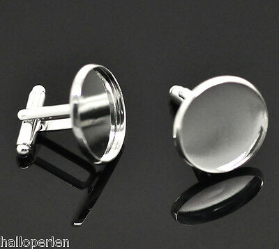 HP 10 Silver Plated Cabochon Setting Cuff Links 26x22mm(Fit 20mm)