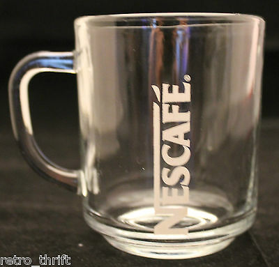 Nescafe Advertising Logo White Letters Clear Glass Coffee Tea Mug Cup  AS-IS