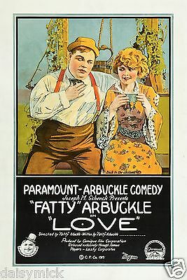 'Love' Fatty Arbuckle 1919 Silent Movie 7x5 Inch Reprint Poster