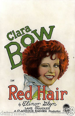 Clara Bow in Red Hair 1928 Silent Movie 7x5 Inch Reprint Poster