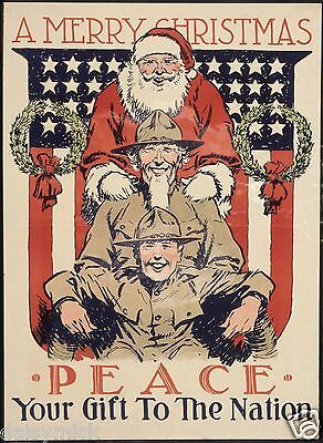 US Army World War 2 Recruitment Poster USA Merry Christmas 7x5 Inch Reprint