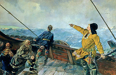 Leif Ericson Discovers North America 9x6 inch  Art Print by Christian Krohg