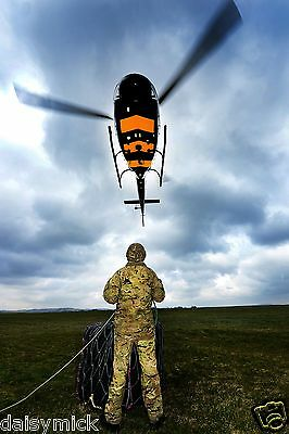RAF Squirrel Helicopter & British Army Reservist Soldier 12x8 Photograph