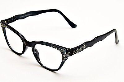 New 50's Vintage Style Clear Lens Cat Eye Glasses Crystals Stones Black