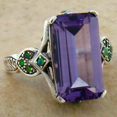 6.5 Ct. Color Changing Lab Alexandrite Antique Design 925 Silver Ring Sz 9, #303