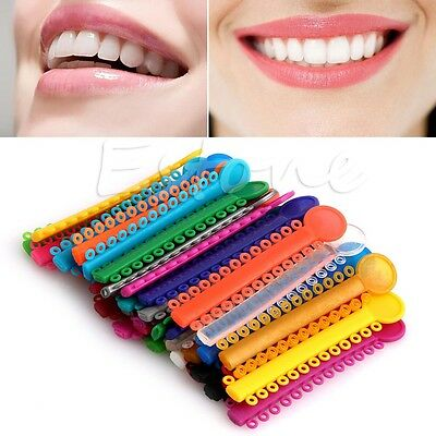 1040Pcs Dental Ligature Ties Orthodontics Elastic Multi Color Rubber Bands 1Pack