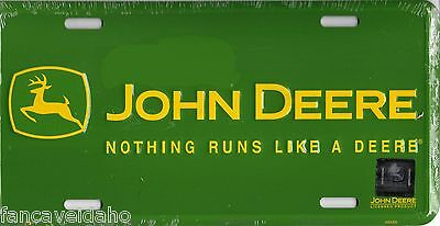 "John Deere Nothing Runs Like A Deere 12"" x 6"" Embossed Metal License Plate Tag"