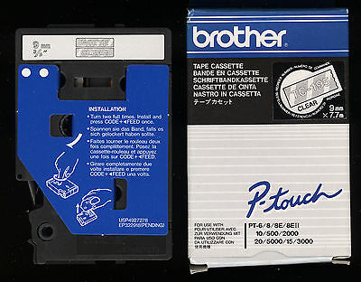 1x ORIGINAL BROTHER TC-195 P-touch Farbband WHITE / CLEAR für PT-6/8/10/500/2000