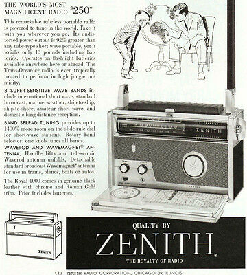 1958 Magazine Ad ~ZENITH All-Transister Trans-Oceanic Portable Short-wave Radio