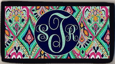 Personalized Custom Monogrammed Diamond Floral Colorful Design Checkbook Cover