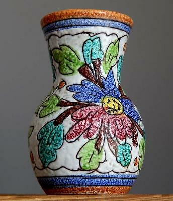 Vintage 60-70's Marked ITALIAN Pottery Art Colorfull Floral Vase Fat Lava Era