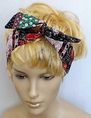 VINTAGE 70s FLORAL COTTON HANDMADE BENDY HAIR WRAP WIRED SCARF HEADBAND E449