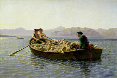 Changing Of Meadow Sheeps In A Boat Shepherds Painting By Rosa Bonheur Repro