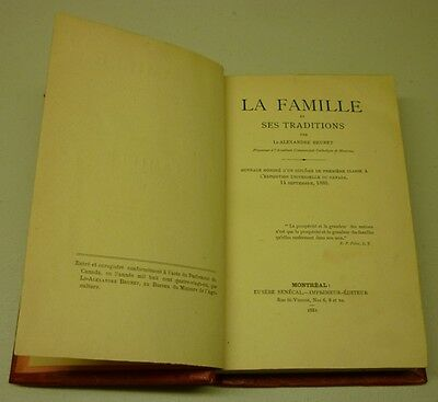Antique 1881 La Famille Et Ses Traditions 1st Edition Hard Cover Book