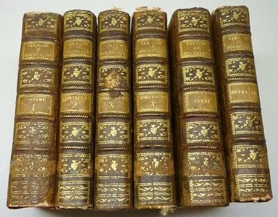 Antique 1787 Sermons Du Père Bourdaloue De La Compagnie 6 Hard Cover Books