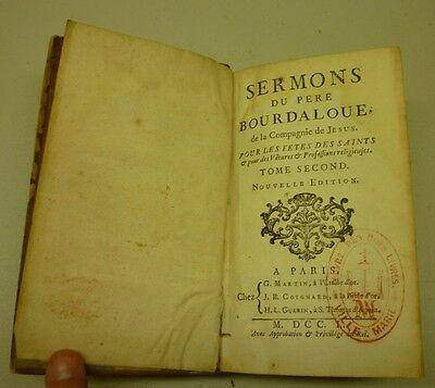 Antique 1750 Sermons Du Père Bourdaloue De La Compagnie Hard Cover Book Tome 2