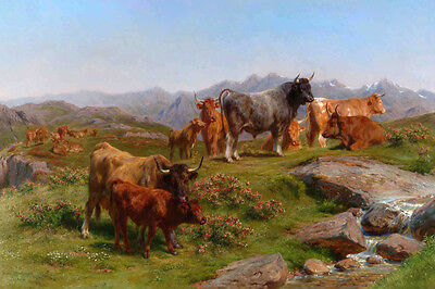 The Cows Mountain Cattle Farm Animal Painting By Rosa Bonheur Repro