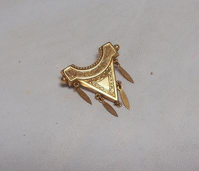 Pretty Victorian Rolled Gold Etruscan Style Brooch With Drops