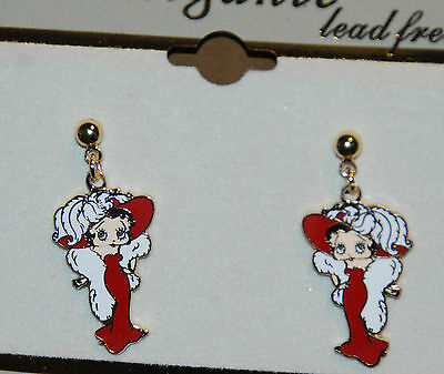 Betty Boop Earrings / Dangling Post / Red Dress w White in Gold-tone / NIP