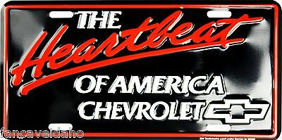 "Chevy The Heartbeat of America 12"" x 6"" Embossed Metal License Plate Tag"