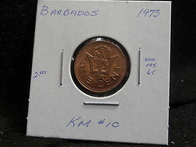 Barbados:   1973   One Cent  Coin   (Unc.)    (#922)  Km # 10