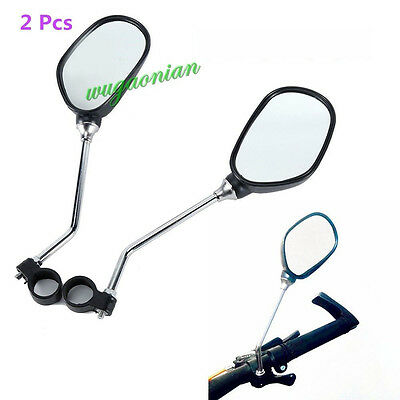 2 Pcs Clear Bicycle Cycle Mountain Bike Mobility Handlebar Mirror Safe Reflector