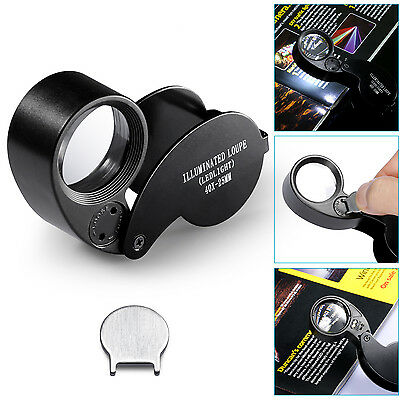 40x 25mm Jewelers Eyes Optical Glass Loupe Magnifier Magnifying LED Light