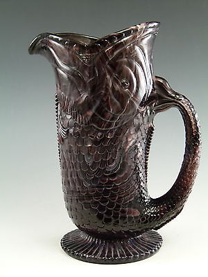 """DAVIDSON Pressed Glass - Heppell design FISH- 1880s - 6 3/4"""" Tall"""