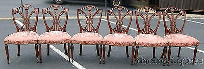 Antique Set 6 Hepplewhite Carved Mahogany Dining Chairs Prince of Wales Feathers