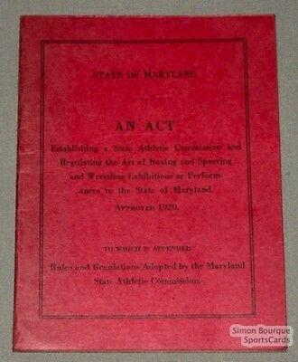 1920 State of Maryland Boxing & Wrestl. Rules Booklet