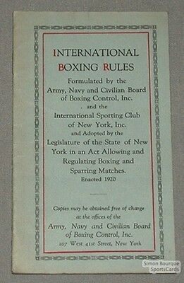 1920 International Boxing Rules Booklet