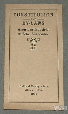 1920 American Indus. Athletic Association Rules Booklet