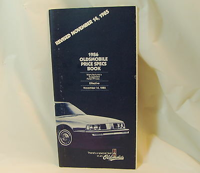 1986 Oldsmobile Salesmen's Specifications Book