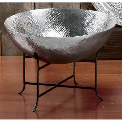 St. Croix Kindwer 2' Wide Massive Hammered Aluminum Bowl & Stand, Silver - A1139
